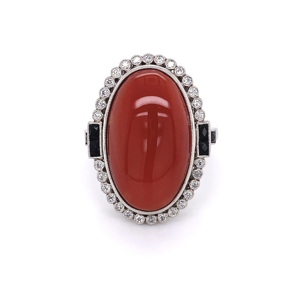 Platinum Art Deco 15.81ct Oval Deep Red Coral, Onyx & .35tcw Old Cut Diamond Ring 14.9g, s7.5