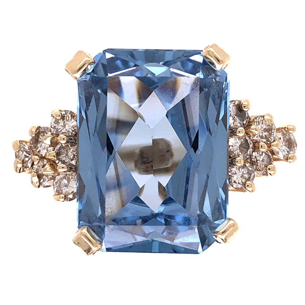 18K Yellow Gold 7.5ct Rectangular Blue Topaz & .70tcw Diamond Ring 9.9g, s6