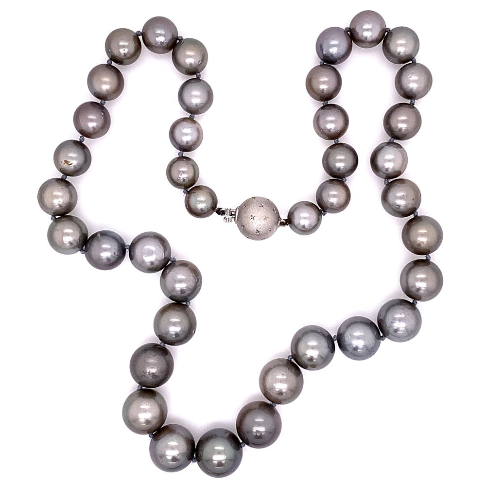 """12.75-9.25mm Tahitian South Sea Pearl Graduated Necklace 17.5"""" long wiht 18K White Gold Clasp 71.2g"""
