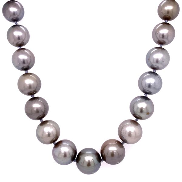 "Closeup photo of 12.75-9.25mm Tahitian South Sea Pearl Graduated Necklace 17.5"" long wiht 18K White Gold Clasp 71.2g"