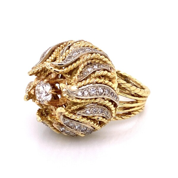 Closeup photo of 14K Yellow Gold 1960's Bombay Petal Ring .55ct Round Brilliant Diamond and .62tcw side diamonds 21.5g, s6