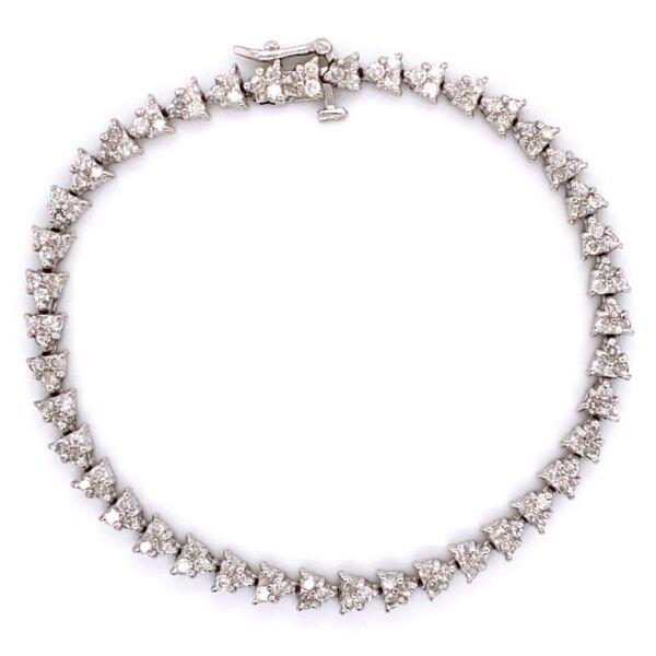 "Closeup photo of 14K White Gold Mosaic Line Bracelet 126 Diamond 3.5tcw 13.4g, 7"""