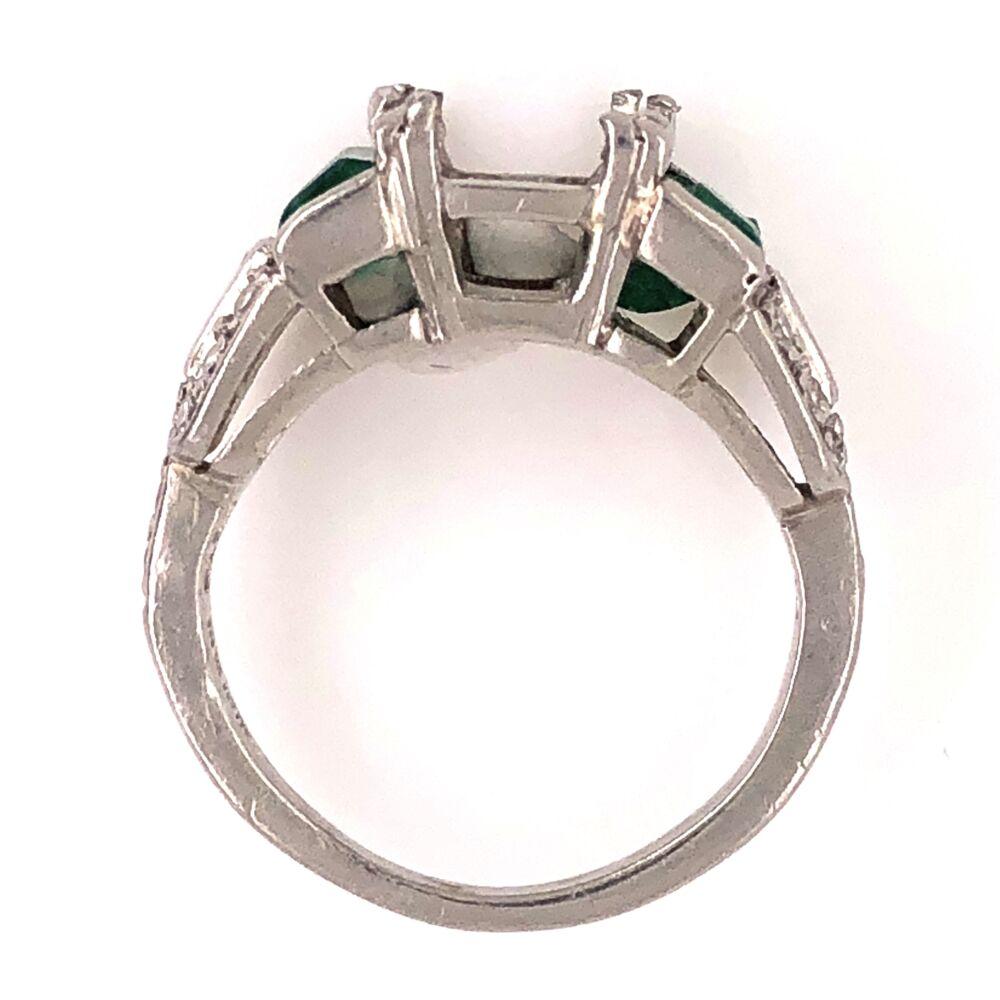 Image 2 for Platinum Art Deco Diamond Semimount with Filigree .30tcw Diamonds and 1tcw Emeralds 4.3g, s3.5