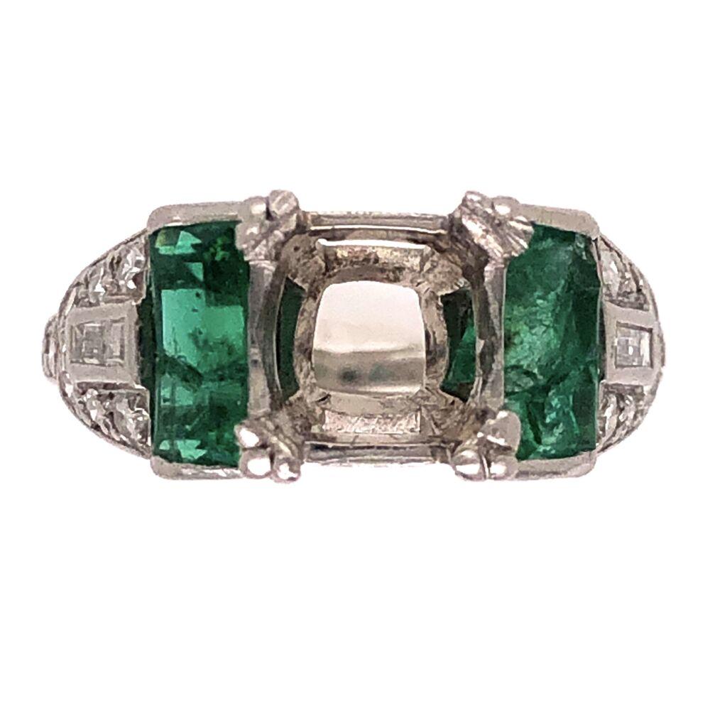 Platinum Art Deco Diamond Semimount with Filigree .30tcw Diamonds and 1tcw Emeralds 4.3g, s3.5