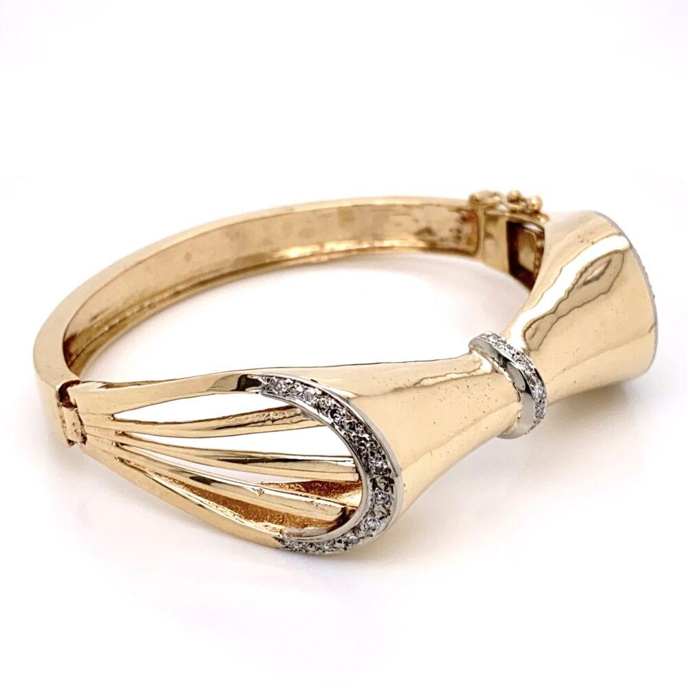 14K Yellow Gold 1960's Bow Bracelet .45tcw Diamonds 33.9g