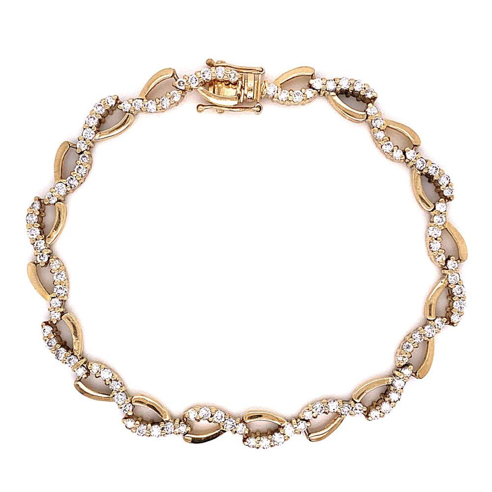 "14K Yellow Gold Diamond Swirl Bracelet 100 Diamonds are 3.50tcw 14.0g, 7.25"""