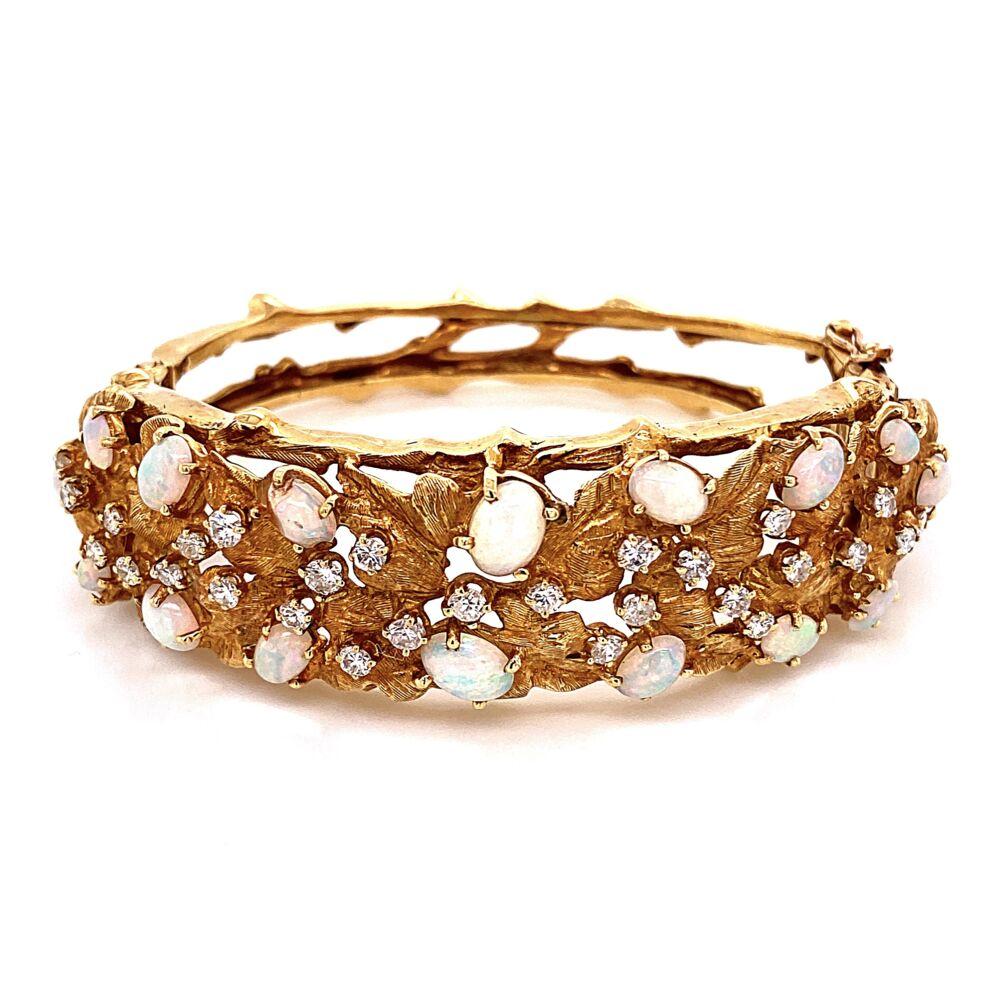 18K Yellow Gold 1960's Cuff Bracelet 3.00tcw White Opal & 1.60tcw Diamonds 45.8g