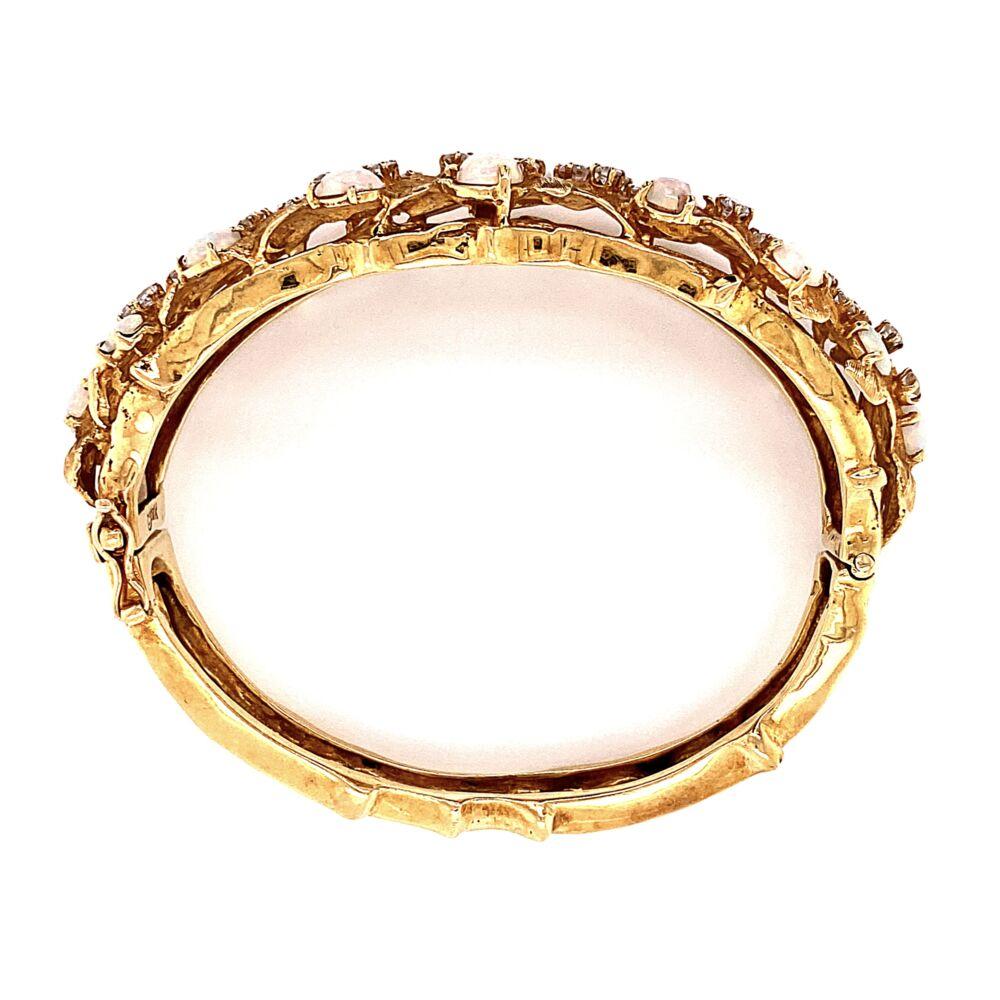 Image 2 for 18K Yellow Gold 1960's Cuff Bracelet 3.00tcw White Opal & 1.60tcw Diamonds 45.8g