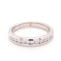 Closeup photo of 14K White Gold Band Ring 11 Channel Set Diamonds are .22tcw, 2.9g, s4.5