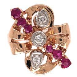 Closeup photo of 14K Rose Gold Retro .65tcw Ruby & .24tcw Diamond Ring 7.0g, s6.5