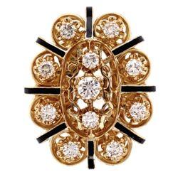 Closeup photo of 14K Yellow Gold Victorian 1.20tcw Diamonds & Black Enamel Ring 17.7g, s7.25