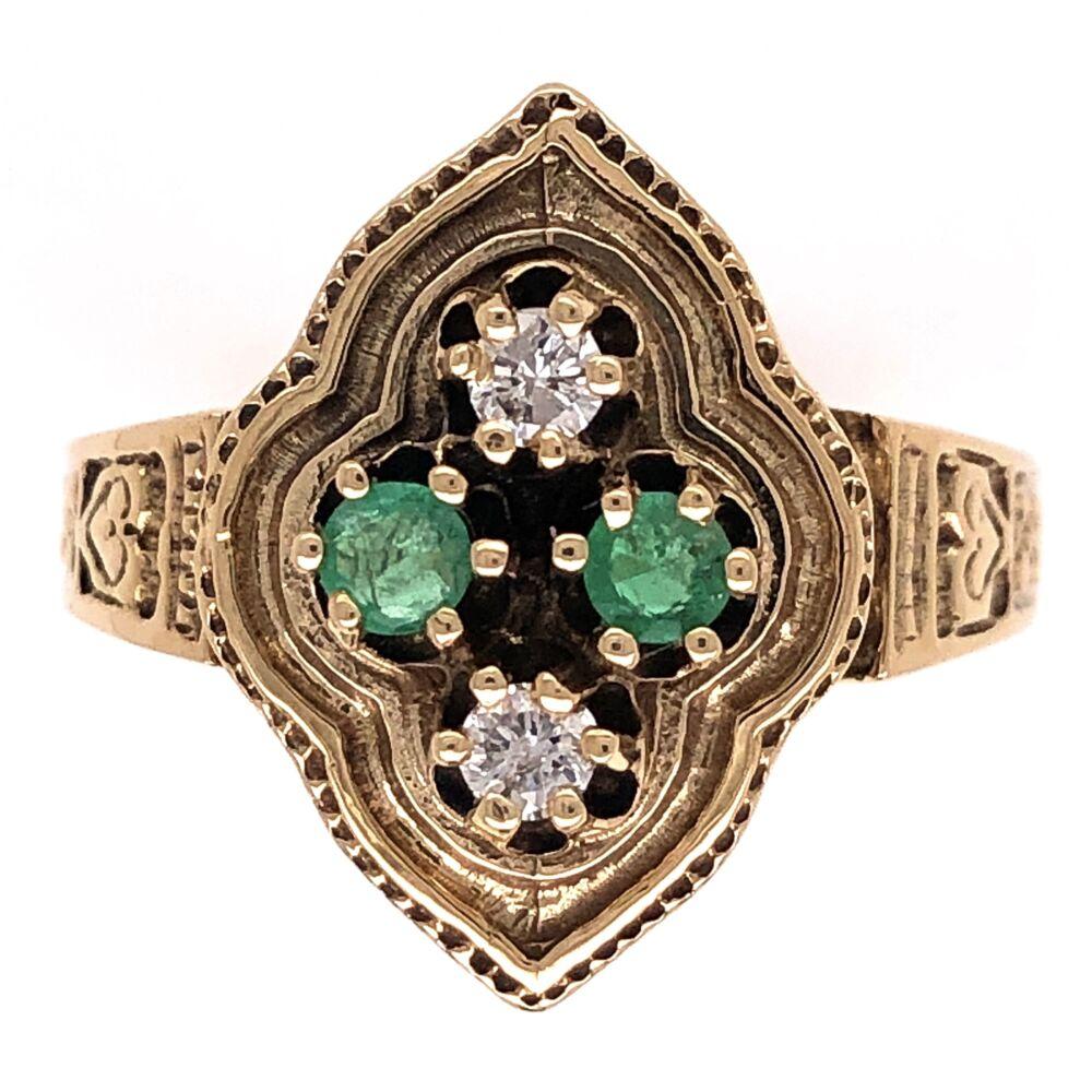 14K Yellow Gold Victorian .16tcw Diamonds & .21tcw Emerald Engraved Ring 5.1g, s7.75