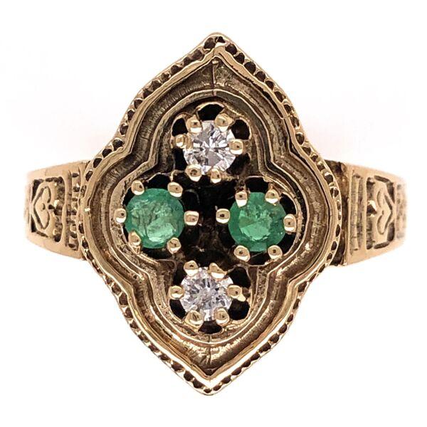 Closeup photo of 14K Yellow Gold Victorian .16tcw Diamonds & .21tcw Emerald Engraved Ring 5.1g, s7.75