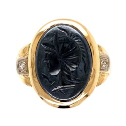 Closeup photo of 14K Yellow Gold Victorian Carved Hematite & .04tcw Diamond Ring 5.0g, s8.75