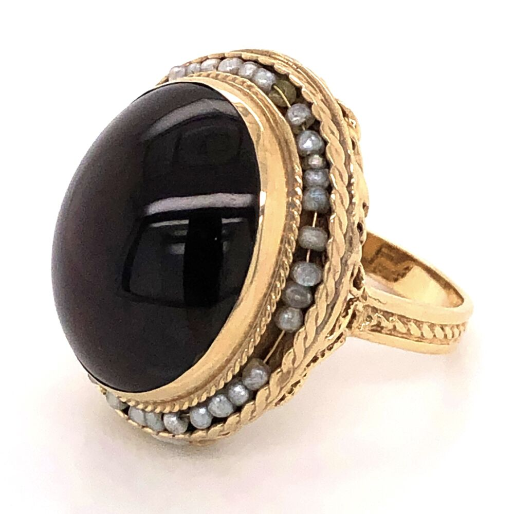 14K Yellow Gold Victorian Revival 15ct Cabochon Garnet & Seed Pearl Ring 9.2g, s7.25