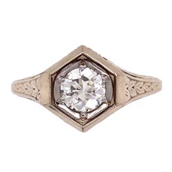 Closeup photo of 14K White Gold Art Deco Engraved Hexagon Ring .51ct Old European Cut Diamond 3.8g, s6.25