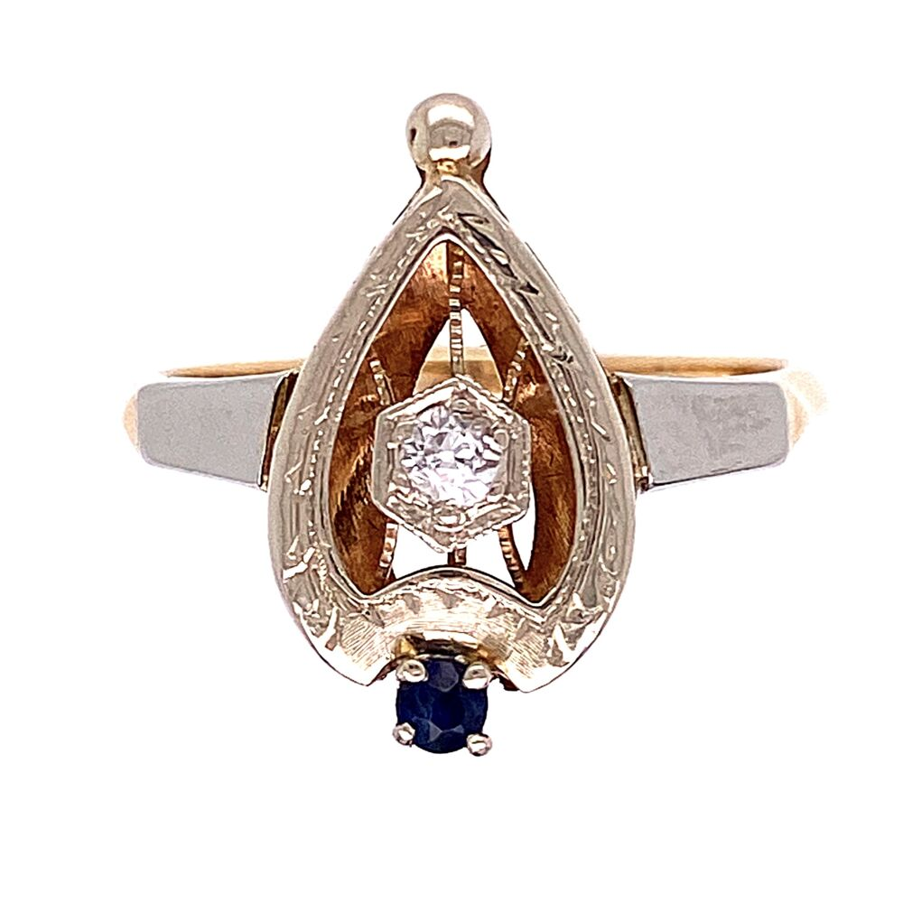14K White & Yellow Gold Art Deco Spade .08ct Old European Cut Diamond and .05ct Sapphire Ring 3.2g, s7.25