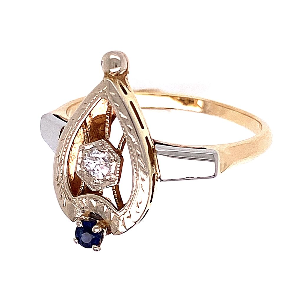 Image 2 for 14K White & Yellow Gold Art Deco Spade .08ct Old European Cut Diamond and .05ct Sapphire Ring 3.2g, s7.25