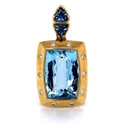 "Closeup photo of 18K Yellow Gold 20ct Blue Topaz Custom Pendant Enhancer .70tcw Diamonds 24.0g, 1.75"" tall"