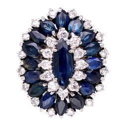 Closeup photo of 14K White Gold Cocktail Marquis Sapphire & Diamond Ring 1.60tcw Diamonds, 4.20tcw Sapphires 14.2g, s4.75