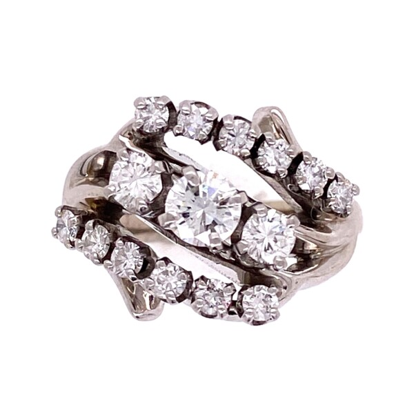 Closeup photo of Platinum 1950's 3 stone Cluster Round Brilliant Diamond Ring .85tcw 5.2g, s3.5