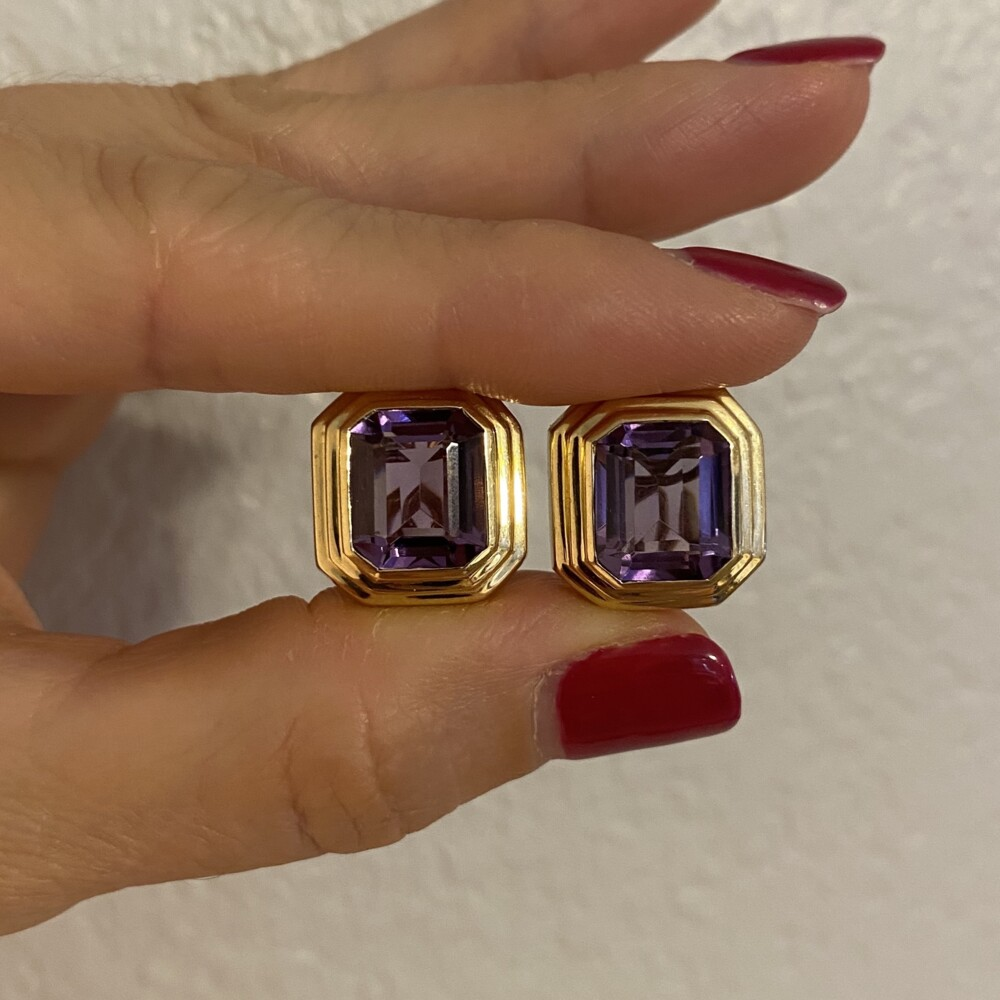 Image 4 for 14K YG Emerald Cut Amethyst Bezel Set French Clip Earrings 12.3g