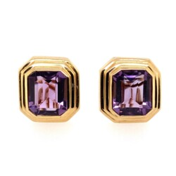 Closeup photo of 14K YG Emerald Cut Amethyst Bezel Set French Clip Earrings 12.3g