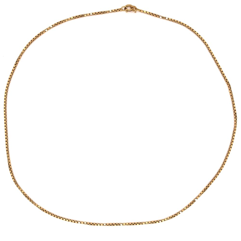 "Image 2 for 18K Yellow Gold Medium Size Box Chain 10.3g, 19"" Long"