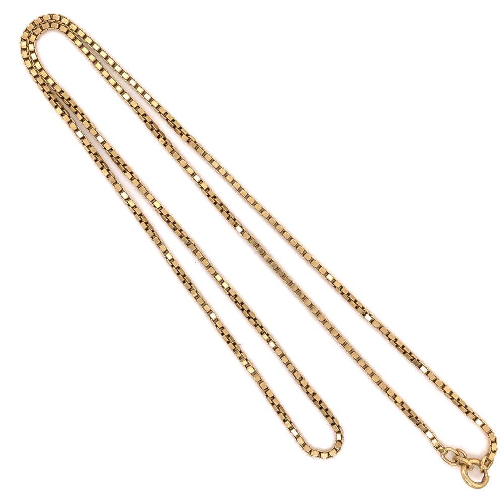 "18K Yellow Gold Medium Size Box Chain 10.3g, 19"" Long"