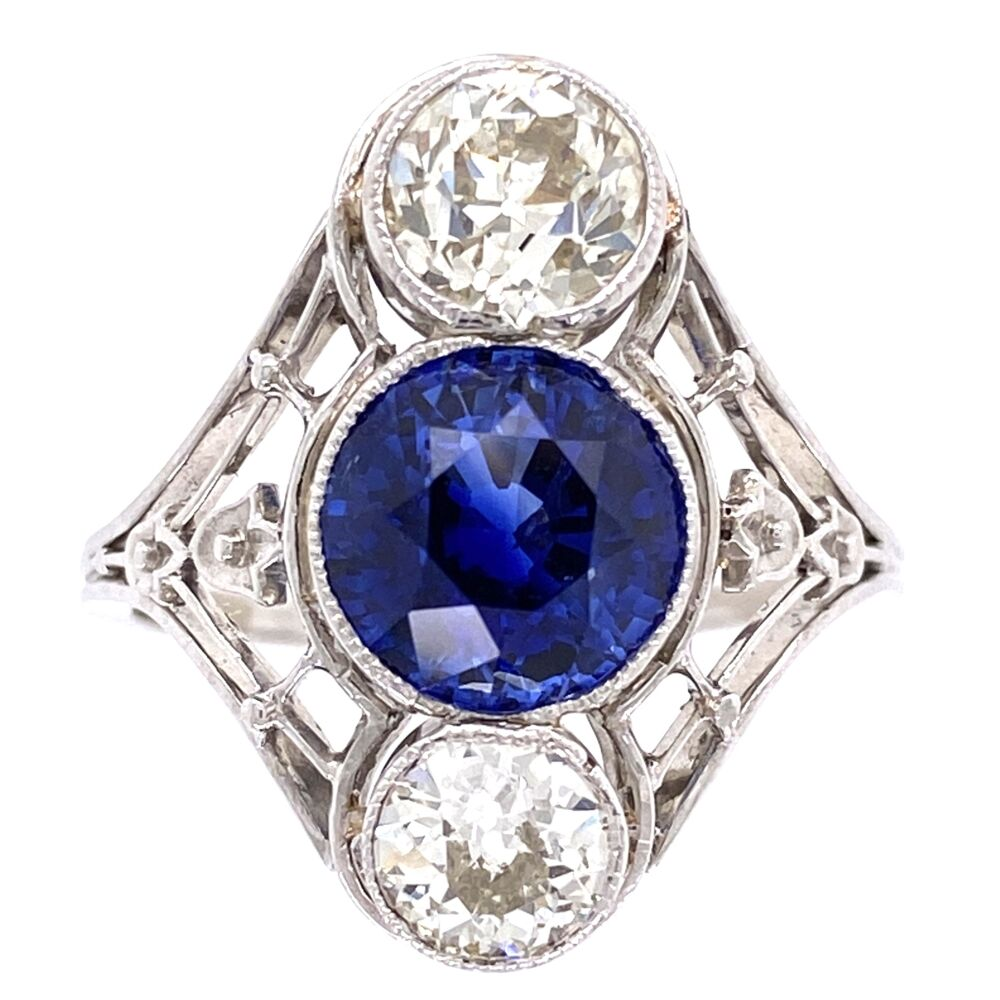 Platinum Art Deco 2.53ct Round Sapphire & 2 Diamonds are 1.45tcw Navette Shaped Ring with Filigree, s6.5