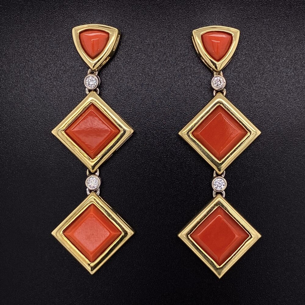 "18K Yellow Gold Drop Earrings with 6 Square Deep Red Coral are 45.00tcw & 4 Diamonds are .24tcw 16.2g, 2.25"" tall, .75"" wide"