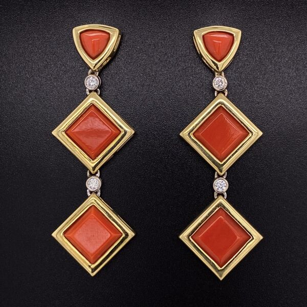 """Closeup photo of 18K Yellow Gold Drop Earrings with 6 Square Deep Red Coral are 45.00tcw & 4 Diamonds are .24tcw 16.2g, 2.25"""" tall, .75"""" wide"""