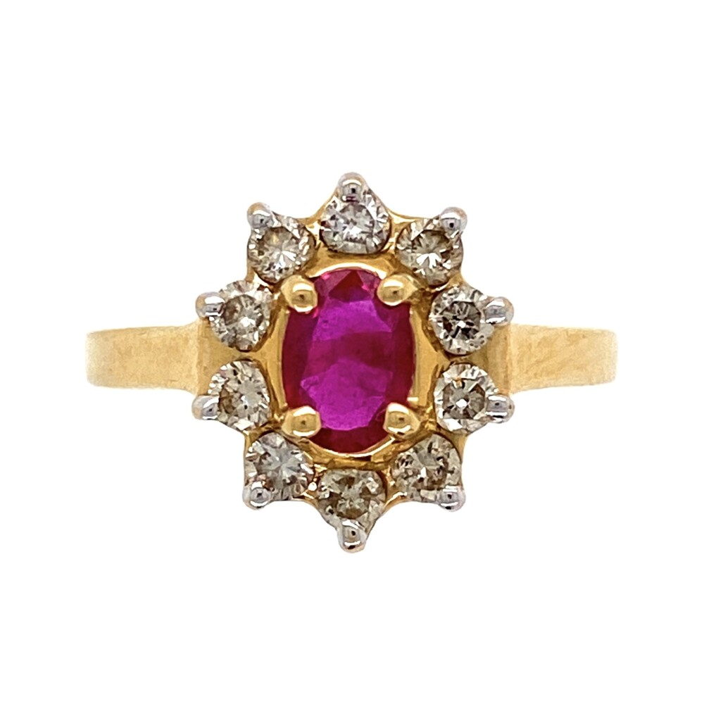 14K Yellow Gold .40ct Oval Ruby & .50tcw Diamond Halo Ring 3.1g, s7