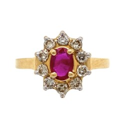 Closeup photo of 14K Yellow Gold .40ct Oval Ruby & .50tcw Diamond Halo Ring 3.1g, s7
