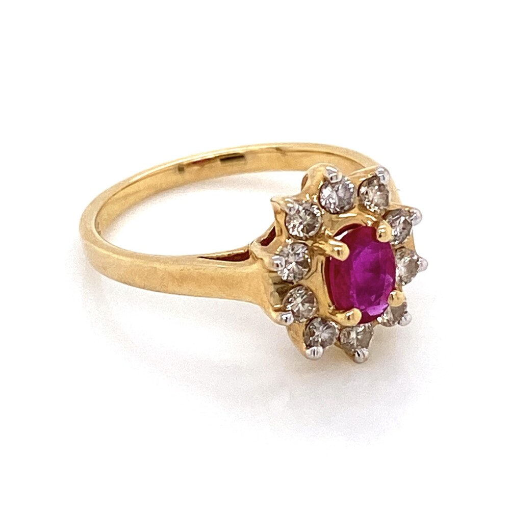 Image 2 for 14K Yellow Gold .40ct Oval Ruby & .50tcw Diamond Halo Ring 3.1g, s7