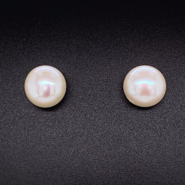 Closeup photo of 14K Yellow Gold Button 11mm White Pearl Stud Earrings