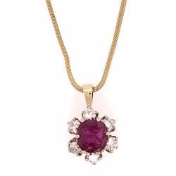 Closeup photo of 14K Yellow Gold 1.10ct Cushion Ruby & .55tcw Diamond Circle Pendant on Snake Chain 6.3g, 20""