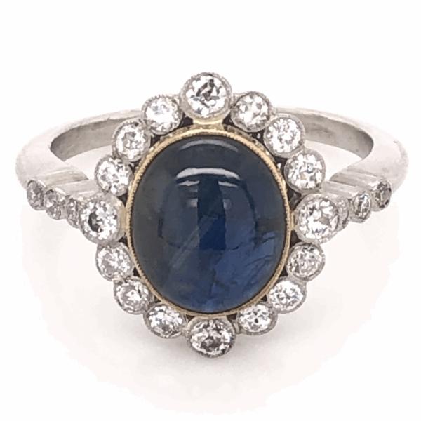 Closeup photo of Platinum Art Deco 3.59ct Deep Blue Star Sapphire & .60tcw Diamond Ring 6.4g, s7