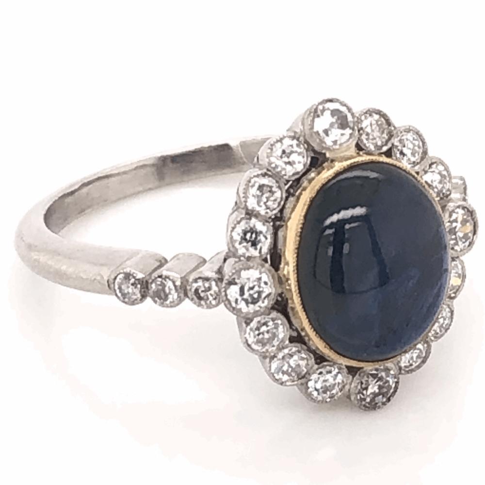 Image 2 for Platinum Art Deco 3.59ct Deep Blue Star Sapphire & .60tcw Diamond Ring 6.4g, s7