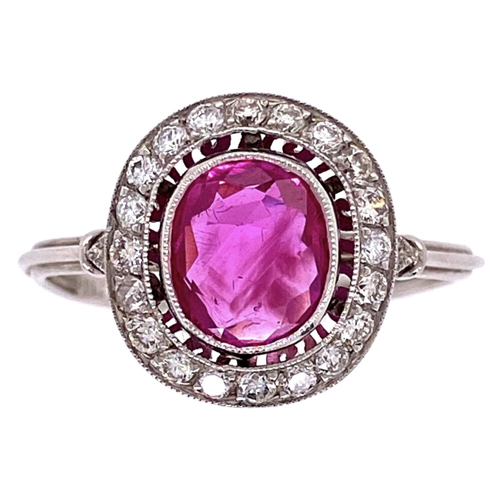 Platinum Art Deco 1.25ct Oval Burma Ruby Ring with .26tcw Diamonds 3.2g, s7.25