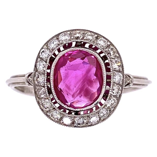 Closeup photo of Platinum Art Deco 1.25ct Oval Burma Ruby Ring with .26tcw Diamonds 3.2g, s7.25