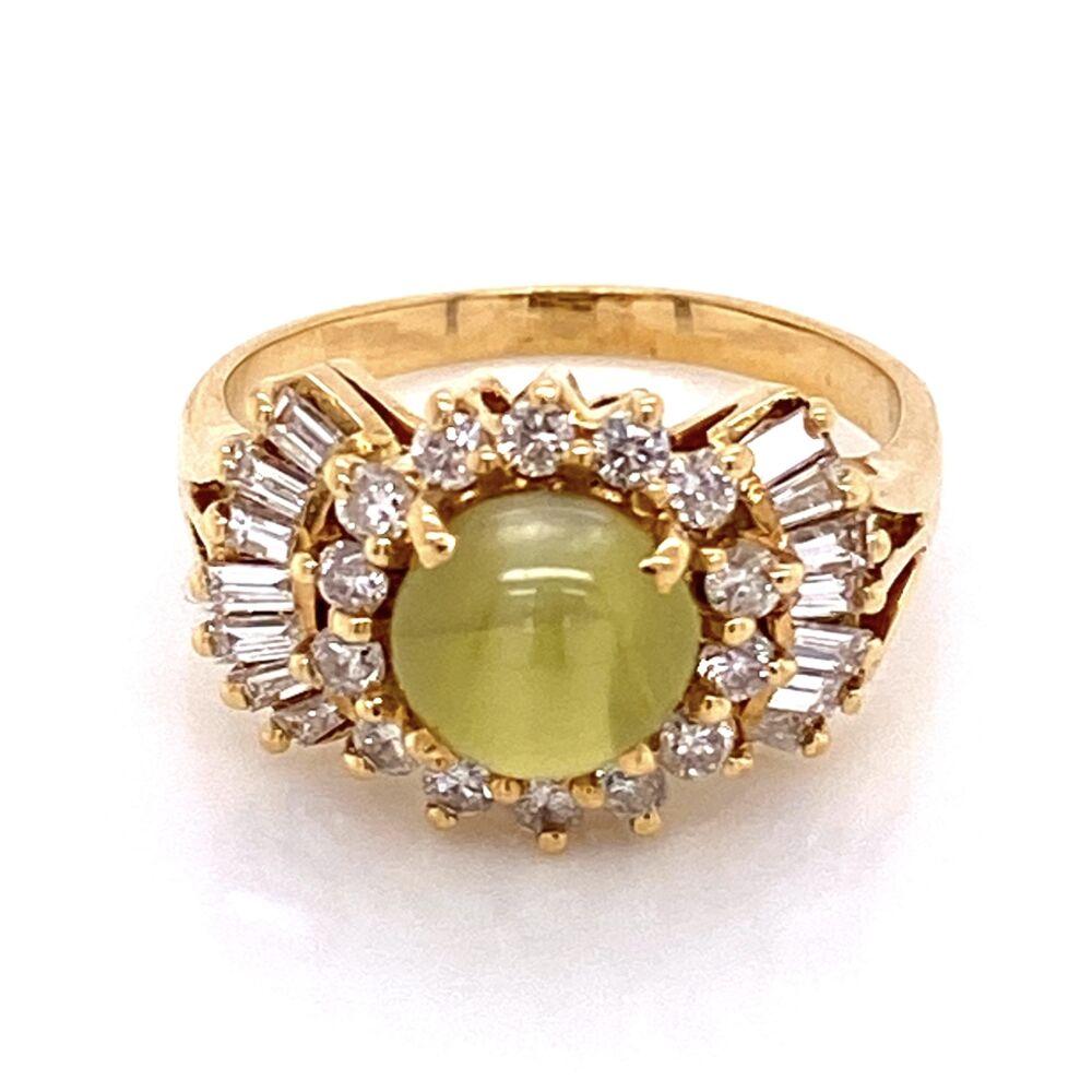 18K Yellow Gold 1970's 2.40ct Cat's Eye Chrysoberyl & .75tcw Diamond Ring 6.1g