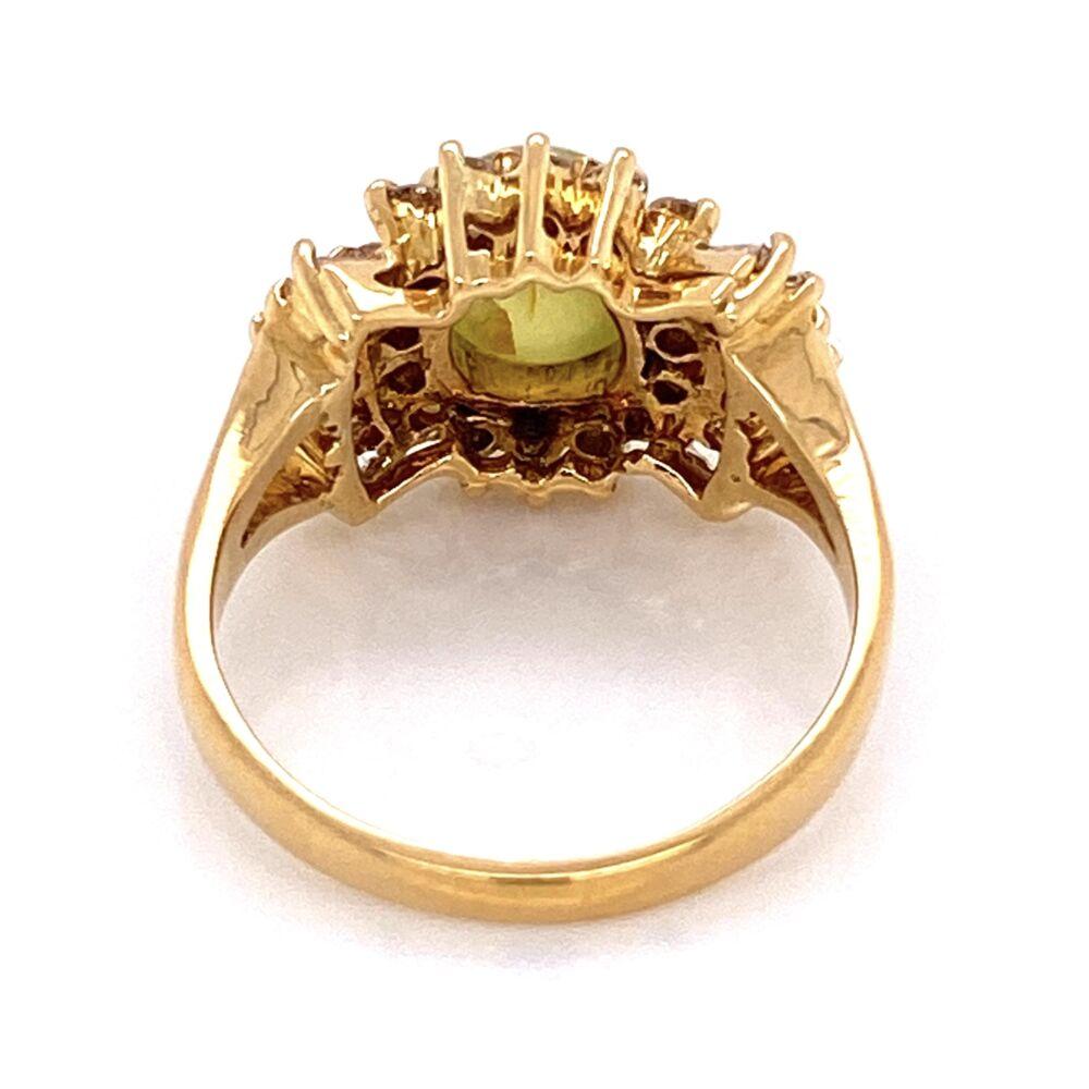 Image 2 for 18K Yellow Gold 1970's 2.40ct Cat's Eye Chrysoberyl & .75tcw Diamond Ring 6.1g