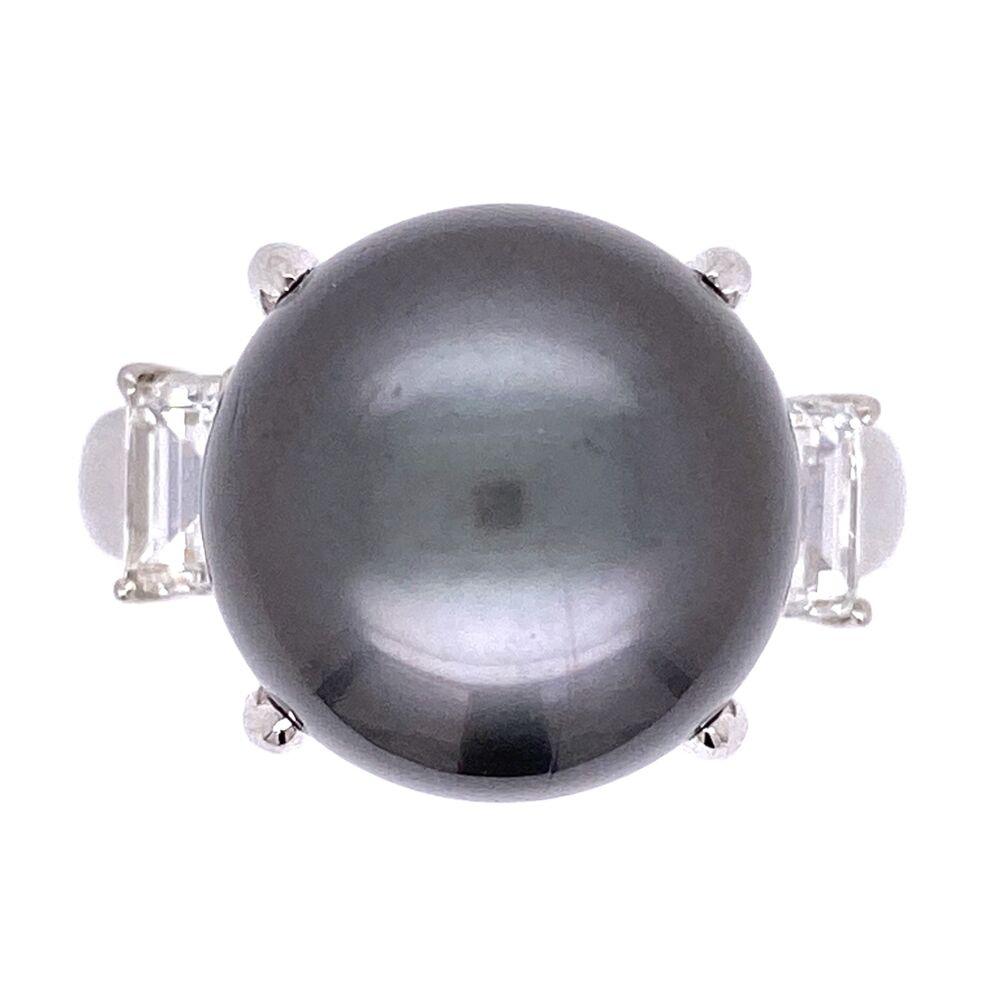Platinum 13mm South Sea Tahitian Pearl Ring & .96tcw side Emerald Cut Diamonds 11.8g
