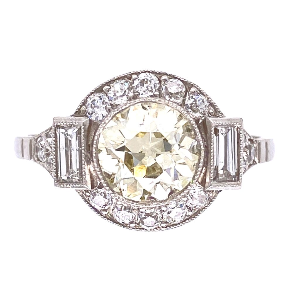 Platinum Art Deco 1.37ct Old European Cut Diamond Center & .64tcw Diamond Sides Ring 4.0g, s7.5
