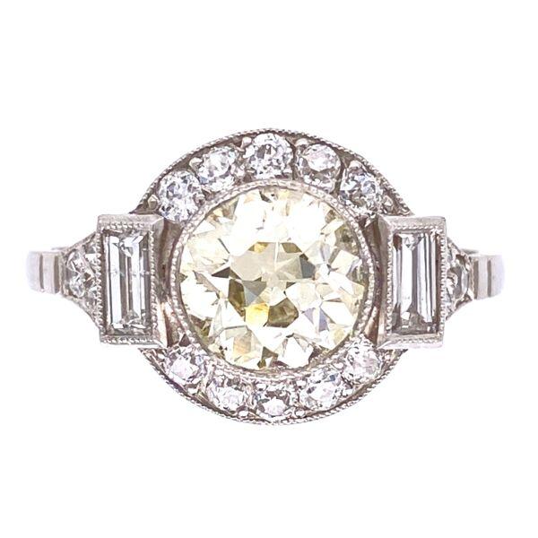 Closeup photo of Platinum Art Deco 1.37ct Old European Cut Diamond Center & .64tcw Diamond Sides Ring 4.0g, s7.5