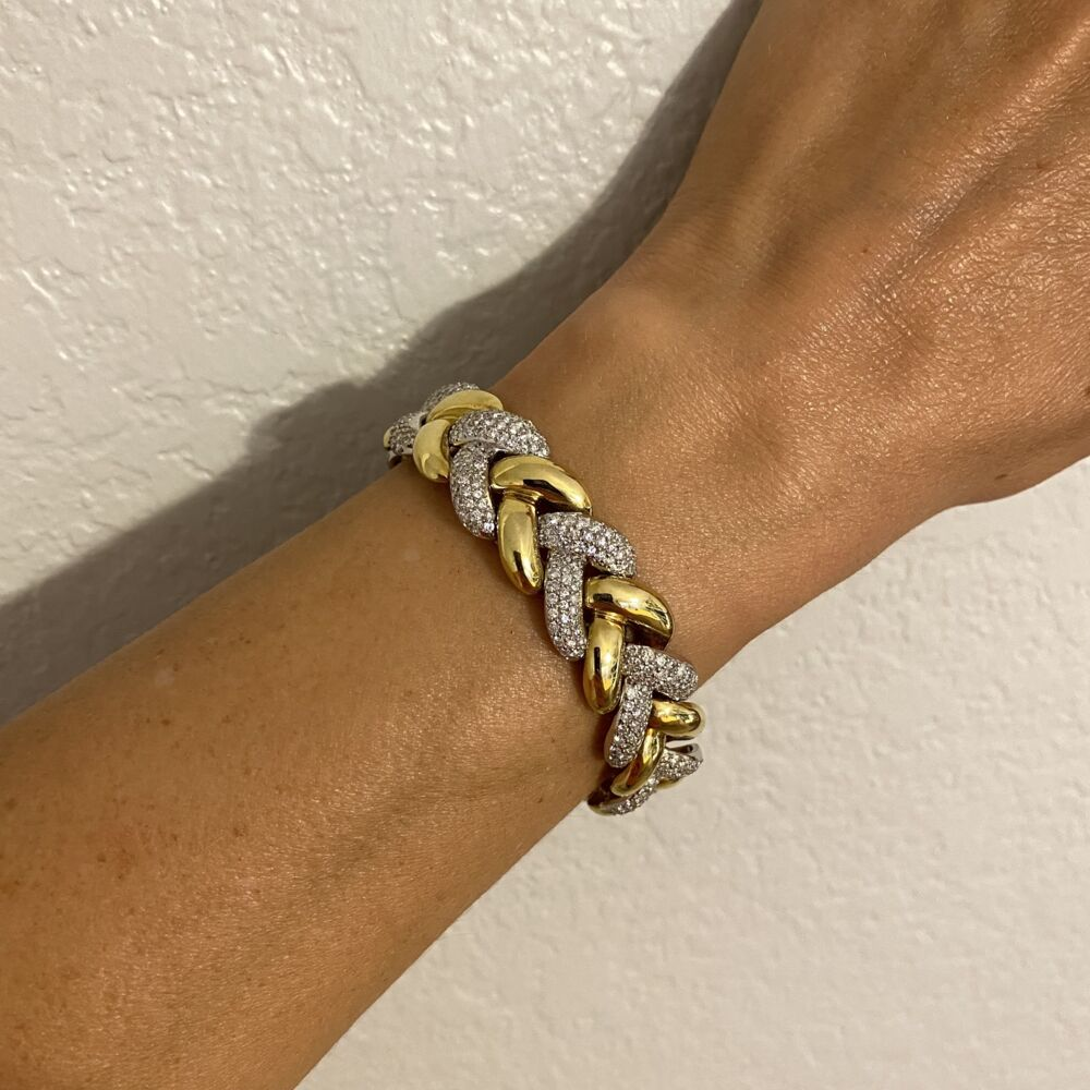 "Image 2 for 18K White & Yellow Gold Diamond Link Bracelet 500 Round Brilliant Diamonds are 8.50tcw 65.6g, 7"" long"
