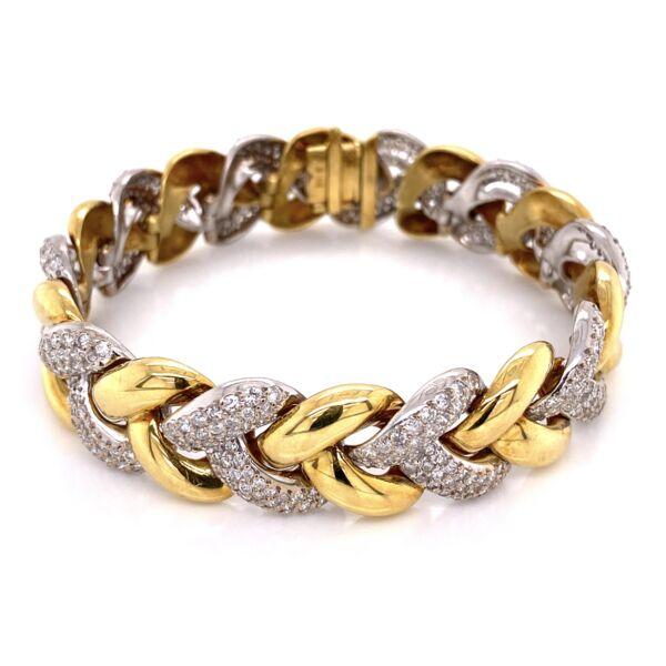 "Closeup photo of 18K White & Yellow Gold Diamond Link Bracelet 500 Round Brilliant Diamonds are 8.50tcw 65.6g, 7"" long"