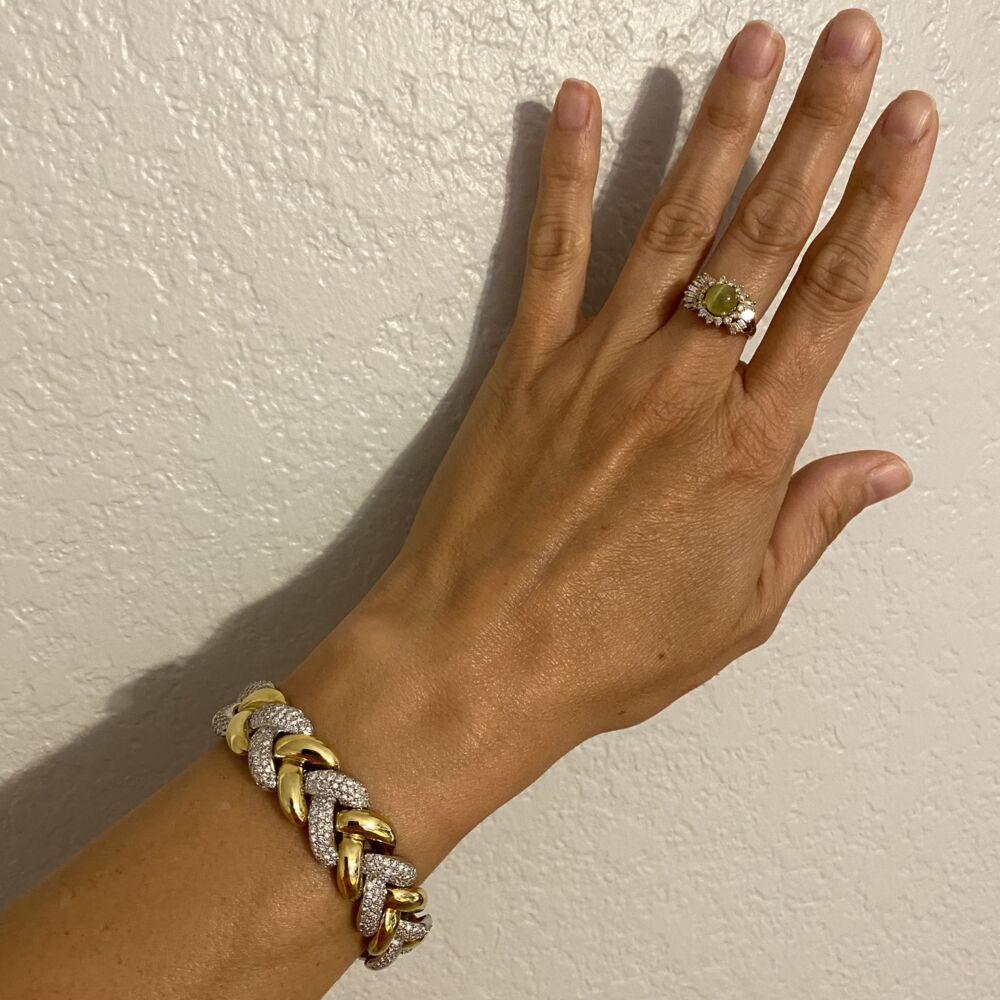 "18K White & Yellow Gold Diamond Link Bracelet 500 Round Brilliant Diamonds are 8.50tcw 65.6g, 7"" long"