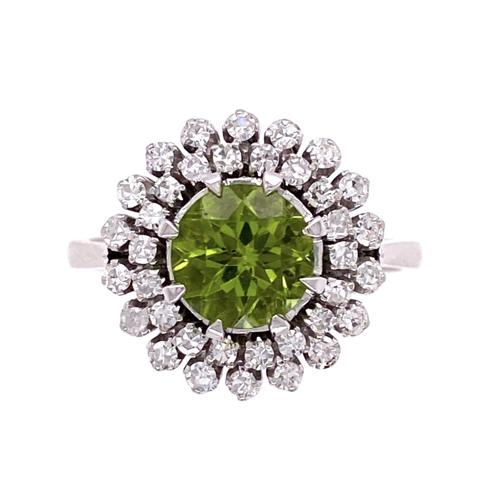 18K White Gold 1950's 1.25ct Peridot with Double Halo .55tcw Diamond 8 prong Ring 5.9g, s7